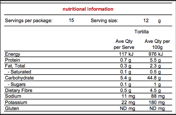 Nutritional Information Panel Corn Star Mini Tortilla