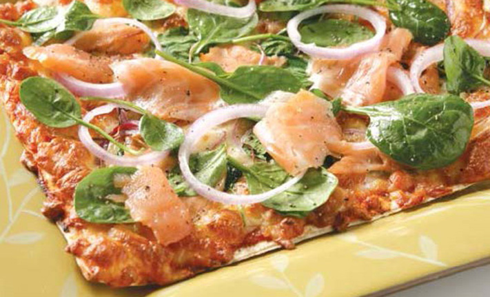Smoked-salmon-and spinach-pizza-with-mountain-bread-base