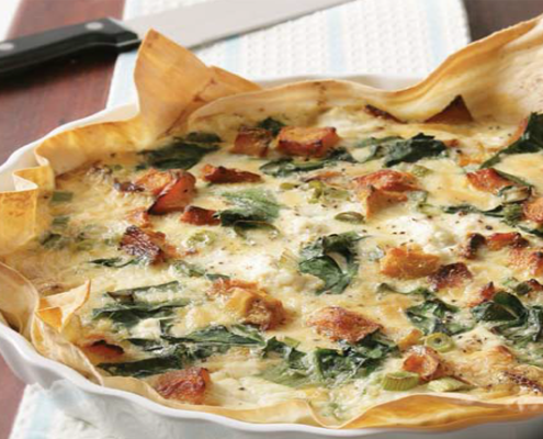 Pumpkin-and-spinach-quiche-with-mountain-bread-base.