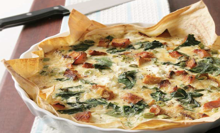 Pumpkin and spinach quiche with mountain-bread base