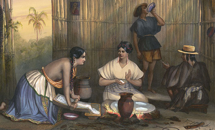 Women making tortillas in Mexico in 1800s