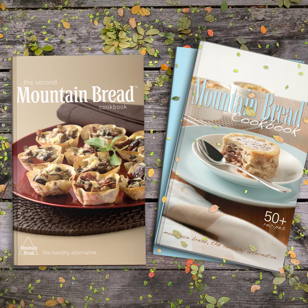 Mountain Bread Cookbooks on tabletop