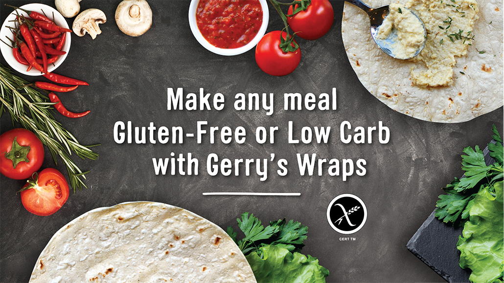 Wraps and fresh vegetables wording says Make any meal gluten free or low carb with gerrys wraps